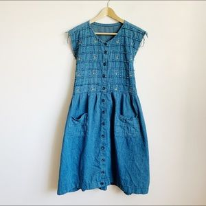 90s sleeveless knee length dress w/ tie waist